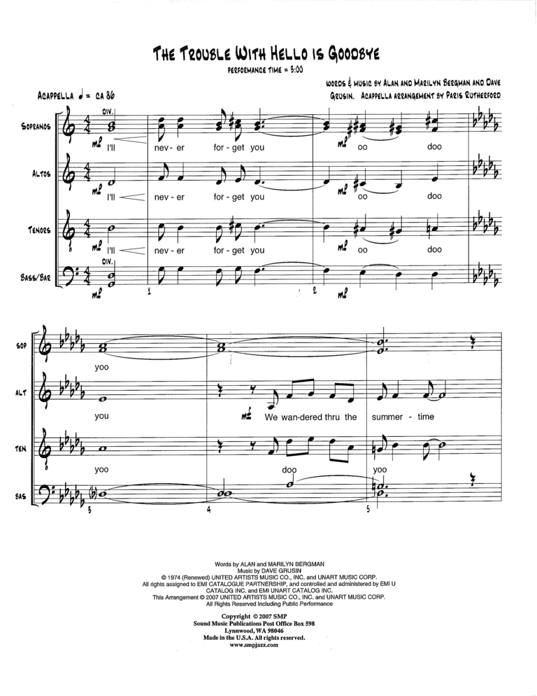All Music Chords hello sheet music : The Trouble With Hello Is Goodbye   Sound Music Publications